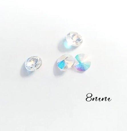 4 breloques chaton strass conique en cristal de Bohème transparent irisé 8mm