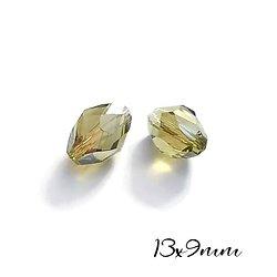 2 perles ogive / ballons de rugby vert olive en cristal de Bohème à facettes 13x9mm