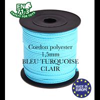 Fil / Cordon / Cordelette polyester pour attache-tétine 1,5mm - BLEU TURQUOISE CLAIR