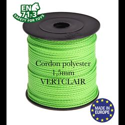 Fil / Cordon / Cordelette polyester pour attache-tétine 1,5mm - VERT CLAIR