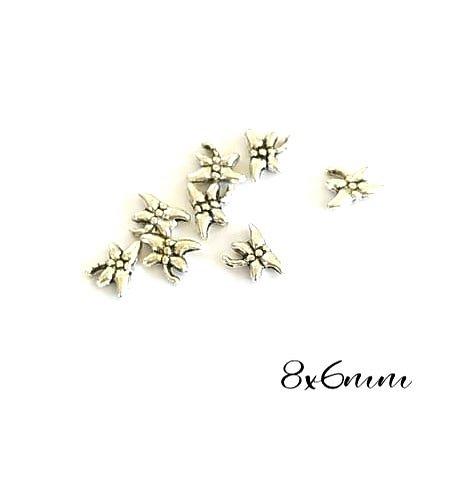 10 petites perles libellule en métal argenté 8x6mm