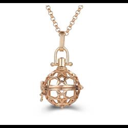 Cage à bola ronde et étoiles en métal doré 35x25mm