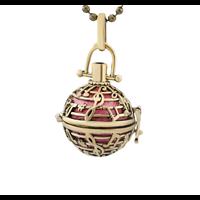 Cage à bola ronde et notes de musique en métal couleur bronze 34x24mm