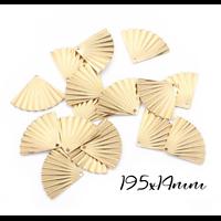 2 breloques éventail plissé en laiton doré 19,5x14mm