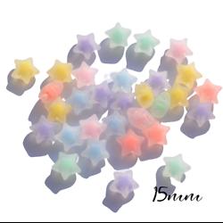 10 perles étoile en acrylique coloré et transparent 15x15x8mm