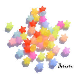 10 perles étoile en acrylique coloré et transparent 11x11x6,5mm