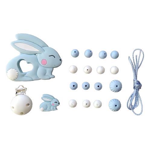 Kit pour attache-tétine et anneau de dentition lapin en silicone alimentaire - bleu pastel