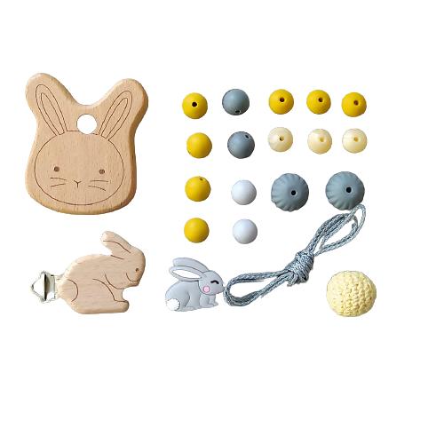 Kit pour attache-tétine et anneau de dentition lapin en bois et silicone alimentaire - moutarde/gris
