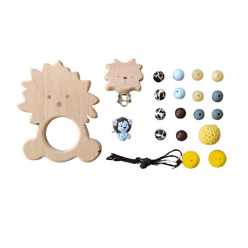 Kit pour attache-tétine et anneau de dentition lion en bois et silicone alimentaire - bleu/jaune
