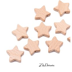 Perle étoile en bois non peint, non traité, non verni 27x17mm