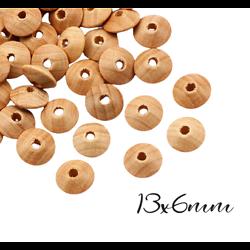 10 perles lentilles en bois naturel non peint, non traité, non verni 13x6mm