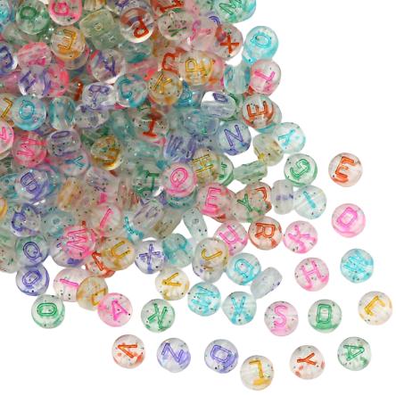 100 perles alphabet rondes en acrylique transparent et paillettes 6mm