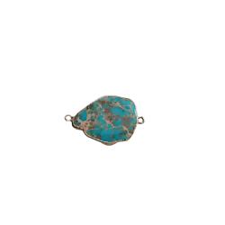 Connecteur en pierre teintée turquoise marbré et serti doré 39x25x6mm