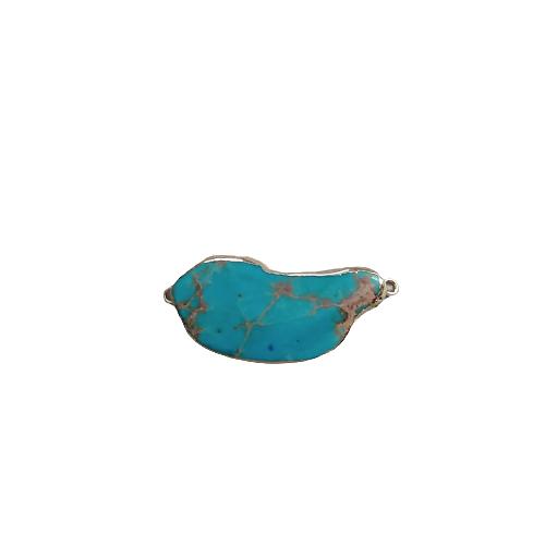 Connecteur en pierre teintée turquoise marbré et serti doré 47x21x6mm