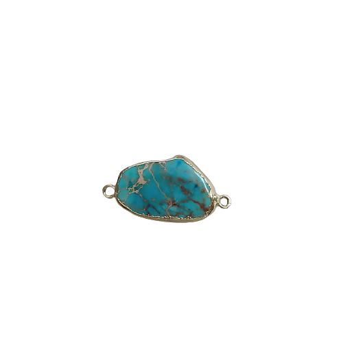 Connecteur en pierre teintée turquoise marbré et serti doré 34x18x6mm