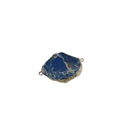 Connecteur en pierre teintée bleu foncé marbré et serti doré 44x28x6mm