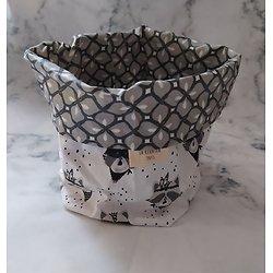 Panière en tissu / vide-poche / fourre-tout pour chambre d'enfant ratons laveurs en noir/blanc/gris