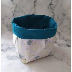 Panière en tissu / vide-poche / fourre-tout pour chambre d'enfant éléphants en jaune/vert/blanc