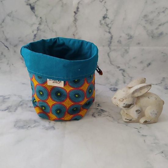 Panière en coton - motifs rosaces en tissu wax jaune/rouge/bleu