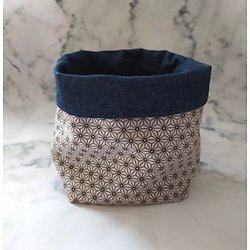 Panière en tissu / vide-poche / fourre-tout pour chambre d'enfant ou salle de bain fleurs japonaises en noir/blanc/gris