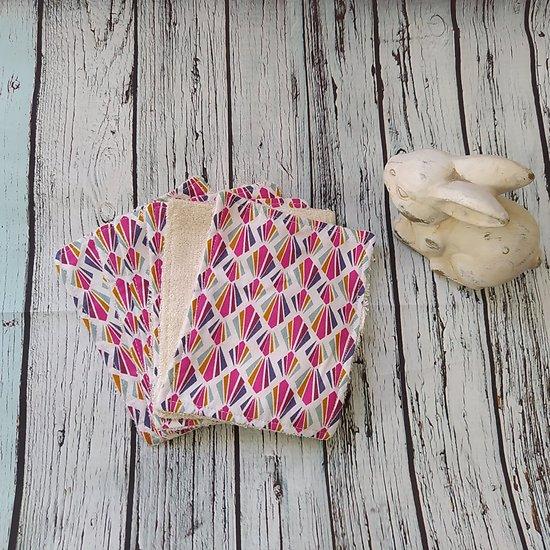 """Maxi lingette """"Eventails multicolores"""" en coton et éponge de bambou bio ivoire"""