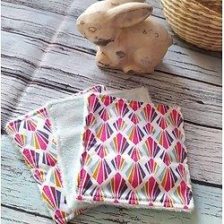 """Maxi lingette """"Eventails multicolores"""" en coton et éponge de bambou bio mint"""