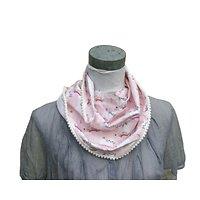 Chèche rose pour une fillette coquette, motif chat-licorne et doublure à pois argentés en coton Oeko-Tex