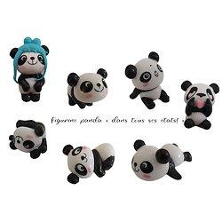 Figurine panda en plastique pour décoration, topping...