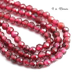 10 perles rondelles de rubis à facettes 4/4,5mm