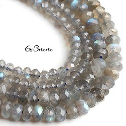 10 perles rondelles de labradorite à facettes 6x3mm