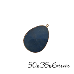 Grand pendentif ovale en pierre agate bleue et serti doré 50x35x6mm