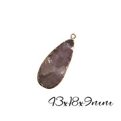 Grand pendentif goutte brute en pierre agate mauve façon améthyste et serti doré 43x18x9mm