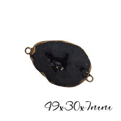 Très grand connecteur ovale en agate druzy noire et serti doré 49x30x7mm
