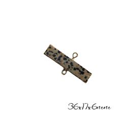 Connecteur rectangulaire en pierre de jaspe dalmatien et serti doré 36x17x6mm