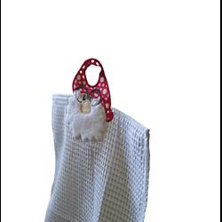 Essuie-main ou torchon de cuisine thème Père-Noël brodé