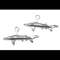 2 breloques requin en métal argenté 36x19mm