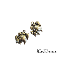 2 breloques Maman éléphante et son bébé en métal argenté 18x16mm