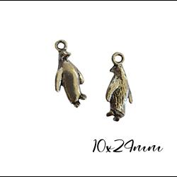 3 breloques pingouin en métal argenté 10x24mm