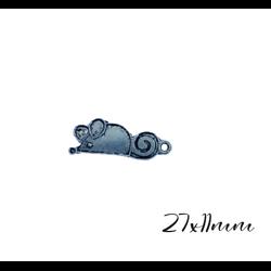 3 breloques souris en métal argenté 11x27mm