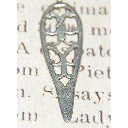 2 breloques pendentifs ethniques goutte ajourée en métal argenté 43x12mm