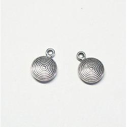 3 breloques spirale bombée en métal argenté 11x8mm