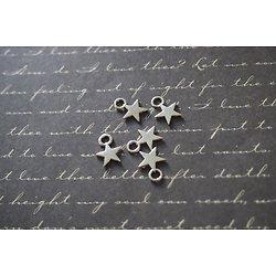 5 mini breloques étoile fine en métal argenté 11x8mm