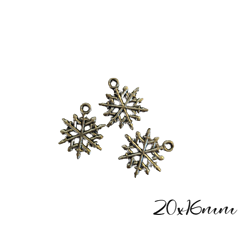 3 breloques flocon de neige fin en métal argenté 20mm