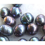 Perle keïshi bleu irisé à gros perçage 10-12mm
