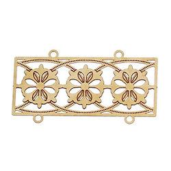 2 connecteurs filigrane fleuris en laiton doré 35x19mm