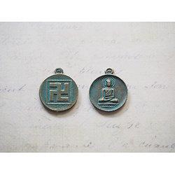 2 breloques médaillon rond Bouddha en métal couleur bronze / vert de gris 22x18mm