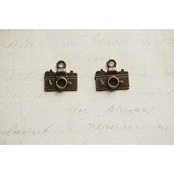 2 breloques appareil photo en métal couleur bronze 16x14mm