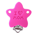 "Clip étoile ""I love Mom"" en silicone alimentaire sans BPA 40mm"