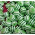 10 perles rondes striées blanc/couleur en acrylique 6/8mm