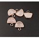 Breloque demi-lune serti or et pierre à facettes 14x14mm
